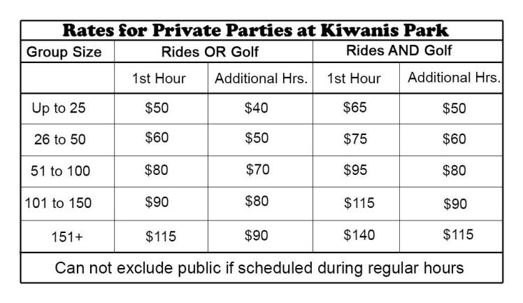 kiwanis party rates